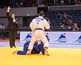 Vorrundenkampf -73 kg: Soshin Katsumi (GER) - Javier Ramirez (ESP): Soshin siegt vorzeitig mit Ippon.