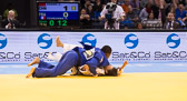 Kampf um Bronze -78 kg: Zhehui Zhang (CHN) - Audrey Tcheumeo (FRA): Ippon für Audrey in den letzten Sekunden.